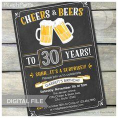 Surprise 30th Birthday Invitation Cheers & Beers Invite Chalkboard Birthday…