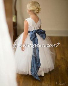 Tulle flower girl dresses in Arial Blue and Antique White Silk | Pegeen