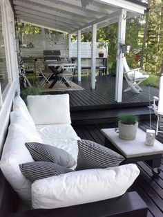 I like the look of a black deck! Outdoor Decor, Home, Outdoor Space, Outside Living, Outdoor Rooms, House Exterior, New Homes, Diy Garden Decor, Outdoor Design