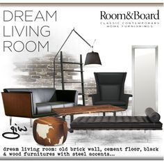 """""""Room & Board Dream Living Room Contest Entry"""" by ian-giw on Polyvore"""