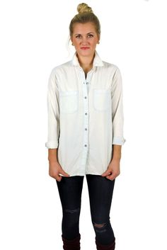 the gosling button down #bleached #blue #button-down #chambray #cotton #denim #faded #fall #gosling #layers #long #medium #new #popular #retro #shirt #small #top #vintage #white #winter