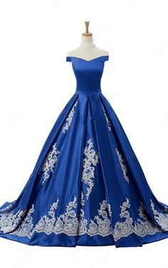 Off The Shoulder Satin Sweep Train Appliques Lace Princess Royal Blue Long Prom Dress