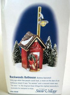 Dept 56 Original Snow Village Building Backwoods Outhouse Retired New in Box Dept 56 Snow Village, Ho Trains, Christmas Villages, Xmas, Christmas Ornaments, Building Ideas, The Originals, Holiday Decor, Globe