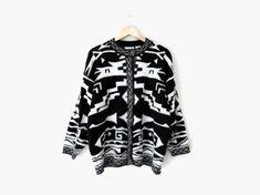 Southwestern Blanket Cardigan / Black and White Geometric Sweater || Vintage c. 1980s - 90s || 80s / 1990s / oversized / bohemian / Scandinavian / hipster style / fall + winter fashion