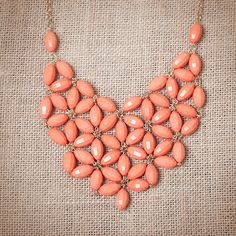 peach and gold and neckless  | Peach Tessellate Bib Statement Necklace by UrbanPeachBoutique
