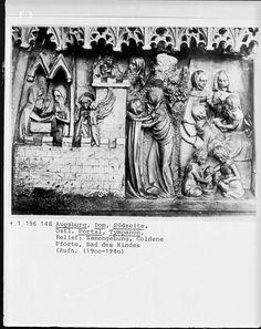 Tympanonrelief, Wanderwerkstätte aus Schwäbisch-Gmünd?, 1377, Augsburg, Dom Sankt Marien — Foto Marburg,  Aufnahme-Nr. 1.196.148;; (9x12);  Fotoinhalt: Namensgebung, Goldene Pforte, Bad des Kindes [The Child's Bath]