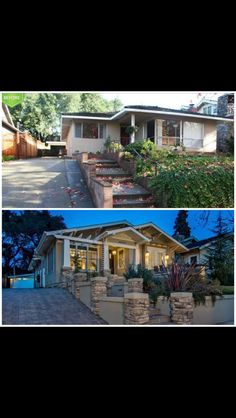 House exterior - I like the stone & concrete wall Home Exterior Makeover, Exterior Remodel, House Makeovers, Ranch Remodel, Craftsman Bungalows, Indoor Outdoor, Outdoor Living, Outdoor Spaces, Home Additions