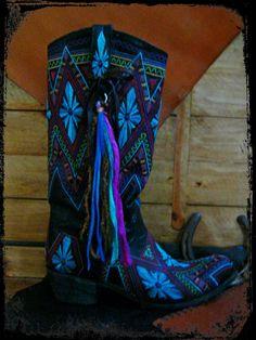 Gypsy Cowgirl Boot Art Fringe Leather and Ribbon by LivingFreeByEP