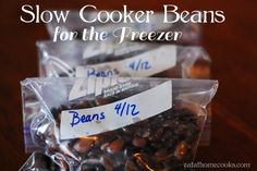 Slow Cooker Beans | They make a quick dinner, can be mashed or left whole and they're great for stocking your freezer.