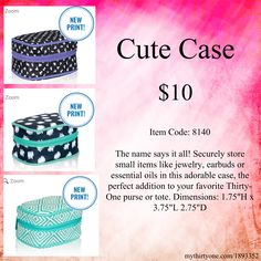 """The name says it all! Securely store small items like jewelry, earbuds or essential oils in this adorable case, the perfect addition to your favorite Thirty-One purse or tote. Dimensions: 1.75""""H x 3.75""""L 2.75""""D"""