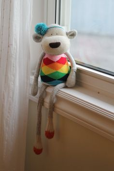 4c1703d51a6ba Reserved for Mary --Sock Monkey Doll Toy with bright rainbow shirt