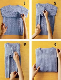 The Konmari Method To Fold Your Clothes Perfectly - boaduw Home Organisation, Closet Organization, Organizing, Organization Ideas, How To Fold Sweaters, How To Fold Hoodies, Fold Shirts, Organizar Closet, How To Fold Towels