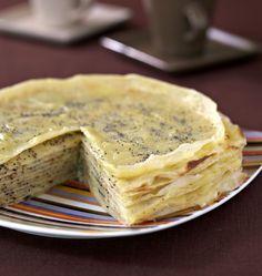 Gâteau de crêpes à la crème de citron et graines de pavot - Recettes de cuisine Ôdélices