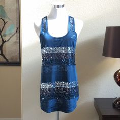 ✨Express Blue Green Sequin Tank (NWOT) Never worn.  Too small for me now and it's been sitting in my closet! Express Tops Tank Tops