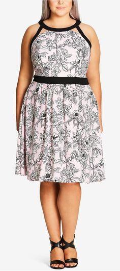 Plus Size Printed Racerback Fit & Flare Dress