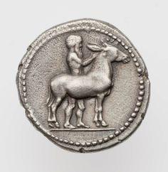 Tetraobolo - argento - Mende, Macedinia (405-348 a.C.) - un sileno ritto tiene un asino in piedi vs.sn. - Museum of Fine Arts, Boston