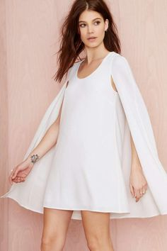 Nasty Gal Catherine Cape Dress - Ivory - Going Out | Shift | Solid | Dresses