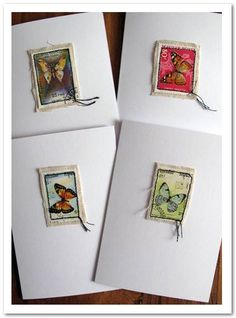 Postage Stamp Cards – featuring Elmer's products Art journal inspiration … Postage Stamps for Cards ~ love their simplicity! Postage Stamp Cards – featuring Elmer's products Handmade Stamps, Handmade Cards, Fabric Cards, Old Stamps, Postage Stamp Art, Butterfly Cards, Art Journal Inspiration, Mail Art, Card Tags