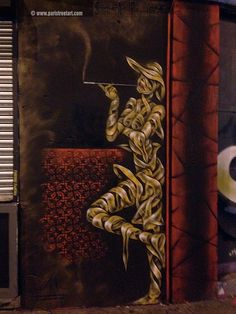 """Ribbon lady"" by Otto Schade. ""Otto's painting ranges from abstract and surrealism to even urban art. Working mainly with oil paint and traditional supports such as stretched canvas, he also practices other techniques such as collage, illustration and stencil. The themes behind his compositions read in a personal, metaphorical sense with a sharp, ironic touch."" #streetart #london #ottoshade"