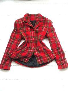 Vintage Velvet feel Tartan Plaid Check Red Military jacket