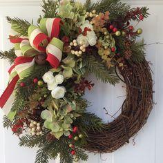 Christmas Wreath-Winter Wreath-Holiday Hydrangea Wreath-Designer Wreath-Holiday Wreath-Rusty Sleigh Bell Wreath-Berry Wreath-Rustic Wreath by ReginasGarden on Etsy https://www.etsy.com/listing/253456836/christmas-wreath-winter-wreath-holiday
