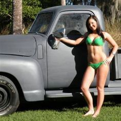 Model with Chevy truck Trucks And Girls, Car Girls, Jeep Truck, Chevy Trucks, Classic Trucks, Classic Cars, Panel Truck, Chevy Pickups, Old Trucks