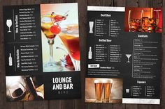 Bar and Lounge Drink Menu by Nathan Knight Design on @creativemarket