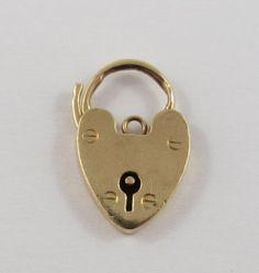 Heart Padlock With Key Hole 9K Mechanical Gold by SilverHillz