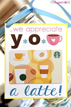 Teacher Appreciation * Donuts & Coffee Mason Jar Gift Idea * Free Printables ~ this fun teacher appreciation gift is easy to put together by decorating a Mason jar with the provided free printables, filling it with donuts, and adding a Starbucks gift card! | FiveHeartHome.com