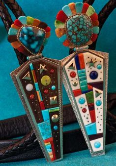 Boyd Tsosie Yei Be Chi (Navajo Diety) Boloties Bolo Tie Coral Turquoise, Turquoise Jewelry, Southwest Jewelry, Southwestern Style, American Indian Jewelry, Unusual Jewelry, Tile Art, Native American Art, Silver Beads