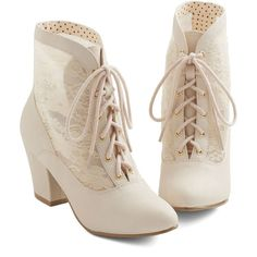Lace Against Time Bootie in Cream (170 BRL) ❤ liked on Polyvore featuring shoes, boots, ankle booties, heels, booties, cream, bootie, boot - bootie, heeled bootie and victorian lace boots