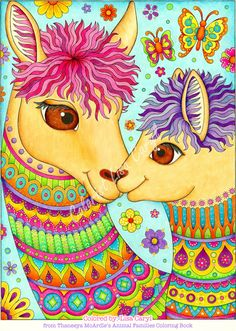 Delightful Animal Families: Craft, Pattern, Color, Chill (Coloring is Fun) (Design Originals) 40 Beginner-Friendly Creative Art Activities from Thaneeya McArdle, on Extra-Thick Perforated Paper Alpacas, Baby Coloring Pages, Coloring Books, Happy Animals, Cute Animals, Llamas Animal, Llama Pictures, Llama Arts, Cute Llama