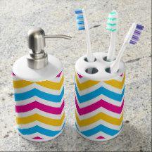 Chevron Pattern Soap Dispenser And Toothbrush Holder