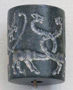 Jasper cylinder seal from Mesopotamia, Uruk Period