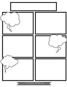 We write a lot.Basically any excuse for my kids to take pen to paper and I'm there.These free comic book templates printables are a fun way to keep your kids writing! Cartoon Template, Comic Strip Template, Lap Book Templates, Templates Printable Free, Blank Comic Book, Comic Book Frames, Comic Frame, Free Comic Books, Kids Writing