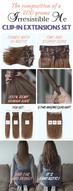 Add instant length and volume to your hair with these 100% human Remy clip-in hair extensions by Irresistible Me. They look completely natural, can be cut, colored and heat styled just like your own hair. Great selection of colors. You can choose the length and weight you need. Free returns and exchanges, worldwide delivery. Sign up and get unbeatable prices and exclusive discounts.