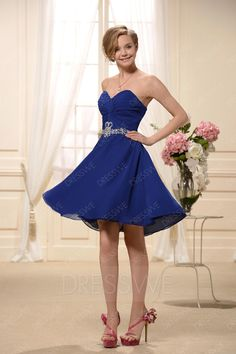 #DressWe - #DressWe Elegent Mini-Length Sweetheart-Neckline Bridesmaid Dress - AdoreWe.com