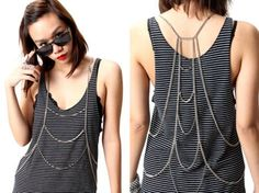 Cheap Chain Necklaces, Buy Directly from China Hot Women Vintage Long Necklace Backdrop And Front Tassel Gold Silver Plated Summer Beach Bikini Body Chain Jewelry Body Chain Jewelry, Body Jewellery, Body Necklace, Estilo Tropical, Textiles, Urban Street Style, Boho Look, Vintage Ladies, Athletic Tank Tops