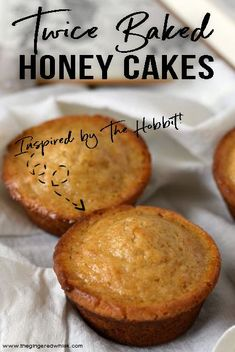 These twice baked honey cakes are slightly crispy on the outside, but dense and moist on the inside, plus full of amazing honey flavor. This Hobbit inspired cake recipe is a perfect treat for breakfast, dessert, or an afternoon snack! Köstliche Desserts, Delicious Desserts, Yummy Food, Health Desserts, Honey Recipes, Baking Recipes, Best Honey Cake Recipe, Recipe Using Honey, Baking Dishes