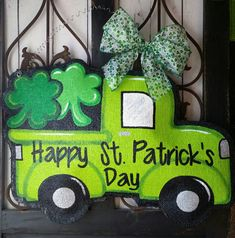 St. Patrick's Day Truck Filled with Shamrocks Burlap Door Hanger Decoration and Wreath Replacement READY TO SHIP