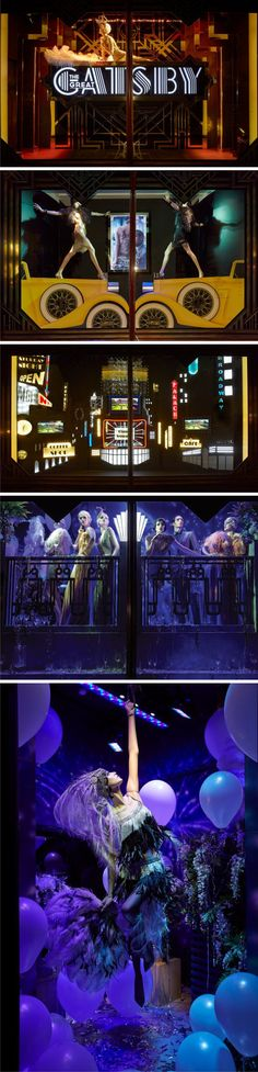 The Great Gatsby – Harrods Windows May 2013. A thematic window display creating drama and a feel of the Gatsby era. Lighting and props play a major role in this closed back window displays.