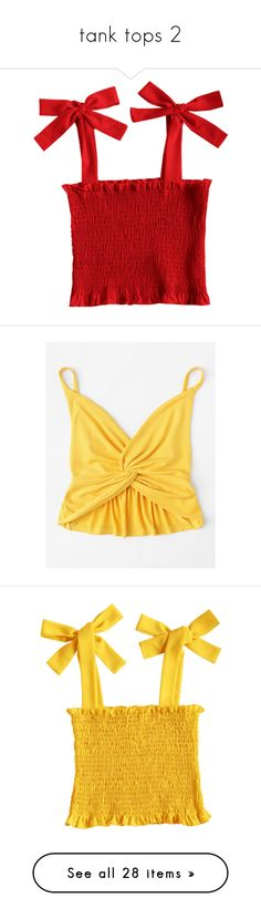 """""""tank tops 2"""" by harthkai on Polyvore featuring tops, camisole tank top, crop tank, cropped camis, v neck tank top, sexy tank tops, yellow, shirts, sleeveless crop top and short crop tops"""