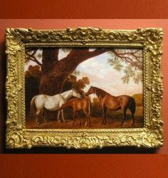 "Miniatures - Leslie Smith Fine Art ""Two Shafto Mares and a Foal"" after George Stubbs"