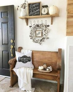 Love this simple bench and farmhouse decor.