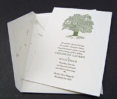 Oak Tree Letterpress Wedding Invitations.  Great for a rustic wedding!  Could be used for a winter, spring, summer or fall event.