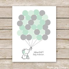 Blue Elephant Balloon Signature Guest Book PRINTABLE for Baby Shower Birthday - Elephant Nursery Art, Thumbprint Guestbook - digital file Juegos Baby Shower Niño, Regalo Baby Shower, Baby Shower Invitaciones, Baby Shower Games, Baby Shower Parties, Baby Boy Shower, Elephant Balloon, Elephant Nursery Art, Elephant Baby Showers