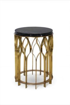 Mosques are not only places for the spiritual cult and also majestic architectural works. MECCA Side Table features a top in marble Nero Marquina and a structure in aged matte brass that resemble the architectural heritage from the mosques. This round side table will enhance any modern interior design. It will be presented at Maison et Objet 2020 with its top on Rain Marble Forest.