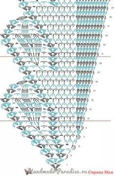 Crochet pattern for a scarf Crochet Shawl Diagram, Crochet Chart, Crochet Motif, Crochet Stitches, Knitting Patterns Free, Crochet Patterns, Blackwork Patterns, Crochet Scarves, Knitting Scarves