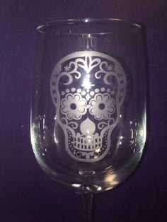 Sugar Skull Etched Wine Glass - Skull Design by ItsWineTimeDesigns on Etsy