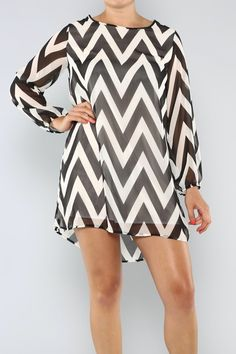 Black and White Chevron Chiffon Dress . Blondellamy'Dean